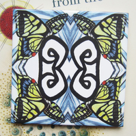 Swallowtail Butterfly Design Ceramic Tile Trivet with Cork Backing
