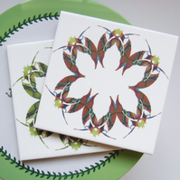 Leaf Floral Pattern Ceramic Tile Trivet in Red Tones with Cork Backing