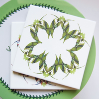 Leaf or Floral Pattern Ceramic Tile Trivet in Green Tones with Cork Backing