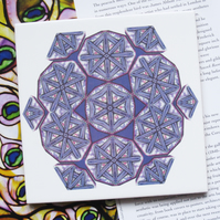 Mauve Kaleidoscope Inspired Design Ceramic Tile Trivet with Cork Backing