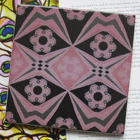 Pink and Black Decoupage Effect Ceramic Tile with Cork Backing - SALE ITEM