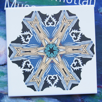 Multicoloured Doily Style Pattern Ceramic Tile Trivet with Cork Backing