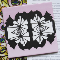 Pink Black and White Pattern Ceramic Tile Trivet with Cork Backing - SALE ITEM