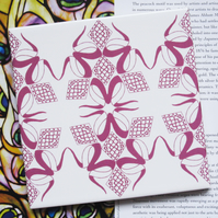 Pink and White Trefoil Pattern Ceramic Tile Trivet with Cork Backing