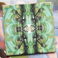 Jade Vine Leaf Design Ceramic Tile Trivet with Cork Backing