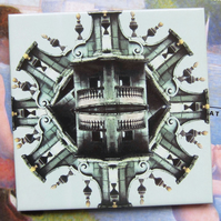 Gothic Church Architecture Design Ceramic Tile Trivet with Cork Backing