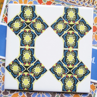 Geometric Mosaic Style Pattern Ceramic Tile Trivet with Cork Backing - SALE ITEM