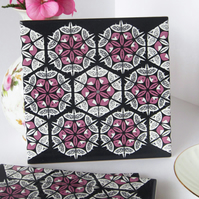 Pink and Black Patchwork Ceramic Tile Trivet with Cork Backing - SALE ITEM