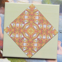 Orange Retro Leaf Pattern Ceramic Tile Trivet with Cork Backing - SALE ITEM