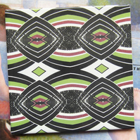 Lime Green and Black Diamond Ceramic Tile Trivet with Cork Backing - SALE ITEM
