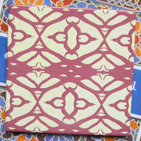 Lace Style Pattern Ceramic Tile Trivet with Cork Backing