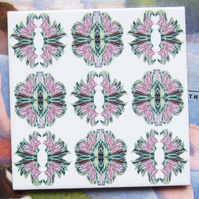 Ornamental Cabbage Pattern Ceramic Tile Trivet with Cork Backing - SALE ITEM