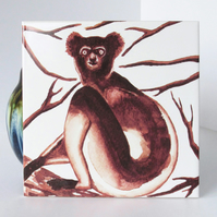 Indri Lemur Design Ceramic Tile Trivet with Cork Backing