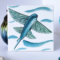Flying Fish Design Ceramic Tile Trivet with Cork Backing