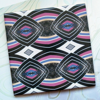 Magenta and Black Diamond Pattern Ceramic Tile Trivet with Cork Backing