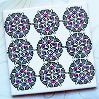 Pink and Black Snowflake Ceramic Tile Trivet with Cork Backing