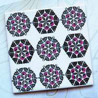 Pink and Black Asymmetric Patchwork Ceramic Tile Trivet with Cork Backing