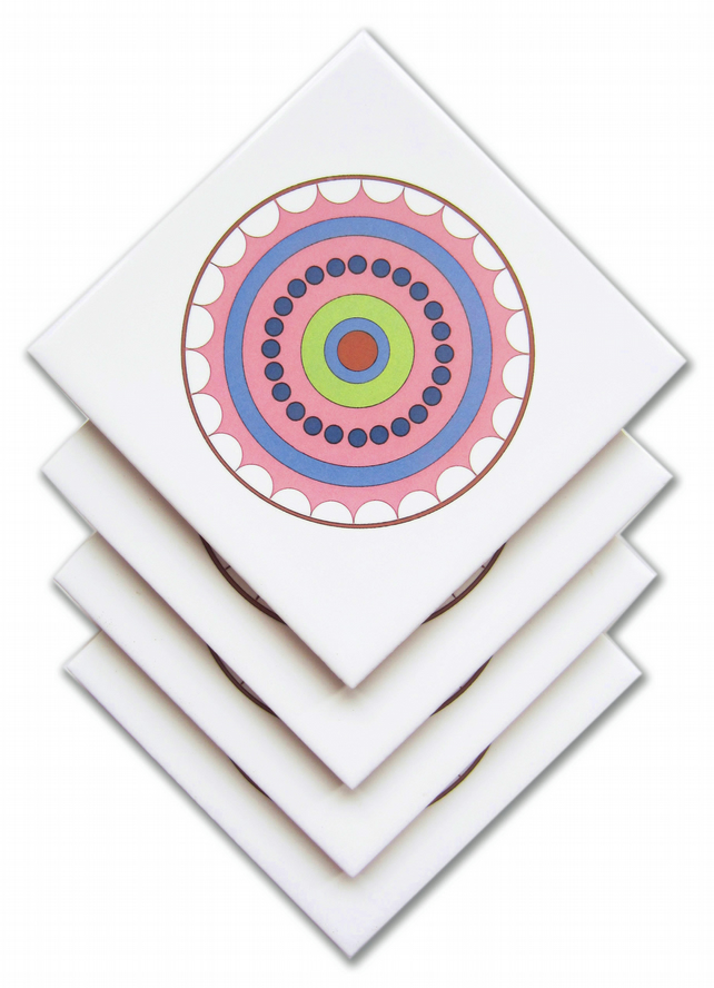 4 x Pink Circle Ceramic Tile Coasters with Cork Backing