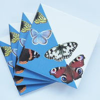 Set of 4 Light Blue British Butterfly Ceramic Tile Coasters with Cork Backing