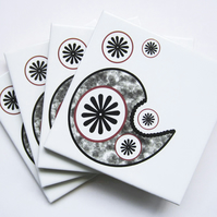 Set of 4 Paisley and Star Motif Ceramic Tile Coasters with Cork Backing