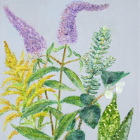 Botanical Oil Painting on Canvas Board with Buddleia, Hebe, Goldenrod, Snowberry