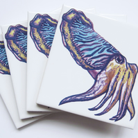 4 x Cuttlefish Artwork Ceramic Tile Coasters with Cork Backing