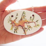 Large Handmade Leafy Seadragon Design Ceramic Pendant on Silver Colour Chain
