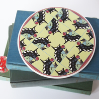 Swallowtail Butterfly Wing Pattern Round Ceramic Tile Trivet with Cork Backing