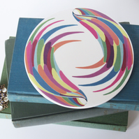 Multicolour Wing Pattern Round Ceramic Tile Trivet with Cork Backing