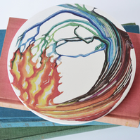 Fire Water Tree Elements Artwork Round Ceramic Tile Trivet with Cork Backing