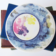 Full Moon and Clouds Artwork Round Ceramic Tile Trivet with Cork Backing