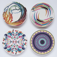 4 x Mixed Pattern Round Ceramic Tile Coasters with Cork Backing
