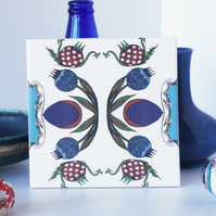 Ottoman Inspired Pomegranate Ceramic Tile Trivet with Cork Backing