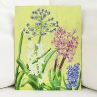 Hyacinth and Scilla Peruviana Oil Painting on Wooden Panel