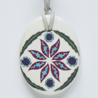 Ottoman Inspired Floral Ceramic Pendant on Light Grey Cord with Lobster Clasp