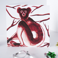 Indri Lemur Artwork Blank Greeting Card - 15 x 15cm