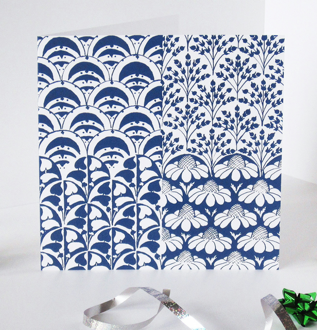 Inky Blue Floral and Arabesque Pattern Blank Greeting Card - 15 x 15cm