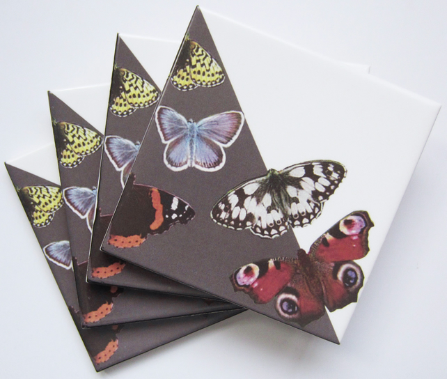 Set of 4 Grey British Butterfly Ceramic Tile Coasters with Cork Backing