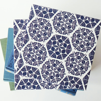Inky Blue Patchwork Pattern Ceramic Tile Trivet with Cork Backing
