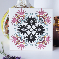 Pink and Black Ornate Hummingbird Design Ceramic Tile Trivet with Cork Backing