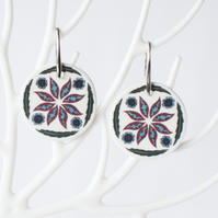 Ottoman Inspired Flower and Leaf Ceramic Earrings with Silver Coloured Ear Wires