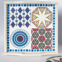 Geometric Tile and Mosaic White Washed Wooden Tray in Blue Red and Yellow Tones