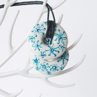 Hand Painted Blue and White Floral Double Stacked Donut Shaped Ceramic Pendant