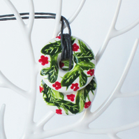 Hand Painted Flower and Leaf Pattern Double Stacked Donut Shaped Ceramic Pendant