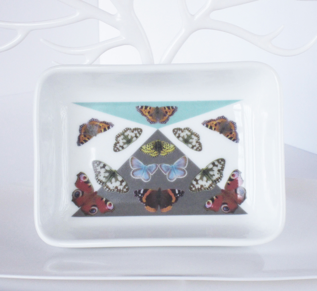 British Butterfly Pattern Ceramic Dish, 13 x 9.5cm, Many Uses