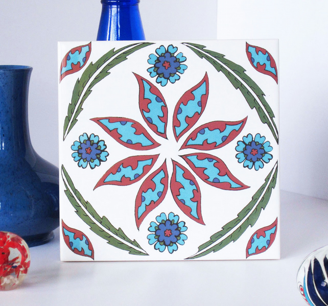 Ottoman Inspired Flower Pattern Ceramic Tile Trivet with Cork Backing