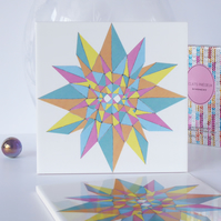 Multicoloured Geometric Star Pattern Ceramic Tile Trivet with Cork Backing