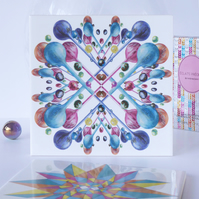 Multicoloured Bubble Pattern Ceramic Tile Trivet with Cork Backing