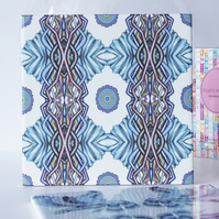 Ice Blue Geometric Pattern Ceramic Tile Trivet with Cork Backing