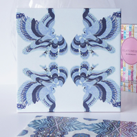 Blue Eagle and Floral Pattern Ceramic Tile Trivet with Cork Backing